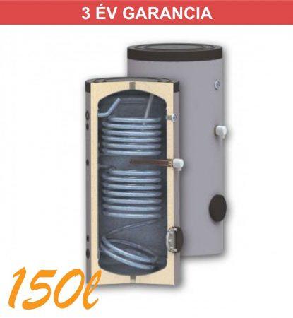 Indirekt melegvíz tároló 150l, 2 hőcserélő, 560mm átmérő, álló kivitel, zománcozott, használati melegvízhez