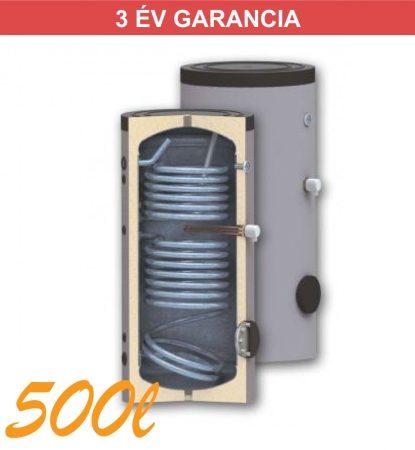 Indirekt melegvíz tároló 500l, 2 hőcserélő, 750mm átmérő, álló kivitel zománcozott, használati melegvízhez