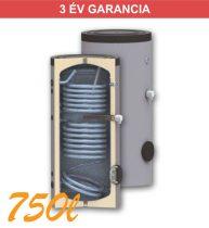 Indirekt melegvíz tároló 750l, 2 hőcserélő, 950mm átmérő, álló kivitel zománcozott, használati melegvízhez
