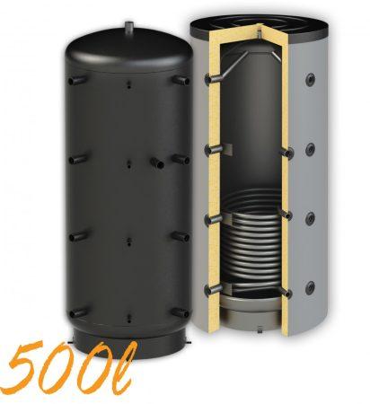 Puffertartály 500l, 1 hőcserélő, 850mm átmérő, álló kivitel, fűtési rendszerekhez