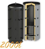 Puffertartály 2000l, 1 hőcserélő, 1400mm átmérő, álló kivitel, fűtési rendszerekhez