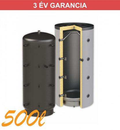 Puffertartály 500l, hőcserélő nélküli, 850mm átmérő, álló kivitel, fűtési rendszerekhez