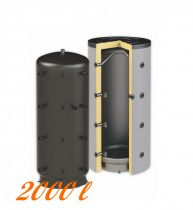 Puffertartály 2000l, hőcserélő nélküli, 1400mm átmérő, álló kivitel, fűtési rendszerekhez