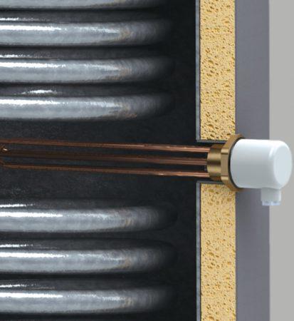 Elektromos fűtőbetét 6 kW + termosztát álló kivitelű indirekt melegvíz tárolókhoz és fűtési puffer tartályokhoz