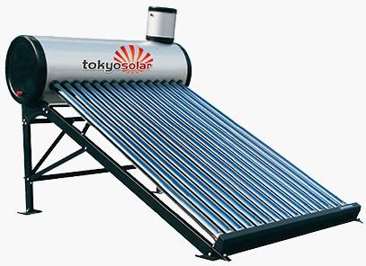 Vákuumcsöves nyomás nélküli napkollektor, ejtőtartályos napkollektor rendszer 120 literes- Tokyo Solar vízmelegítő NO3-12