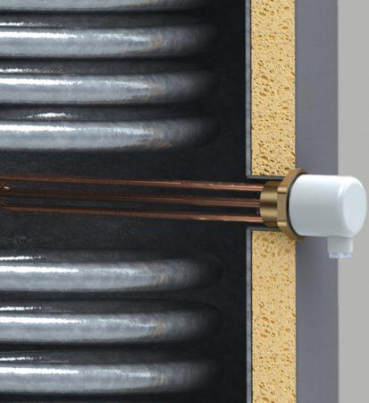 Elektromos fűtőbetét 2kW + termosztát álló kivitelű indirekt melegvíz tárolókhoz és fűtési puffer tartályokhoz